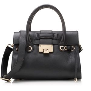 Jimmy Choo Rosalie Purse Satchel Black Grainy Calf