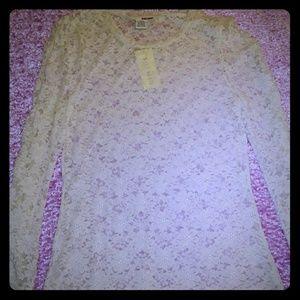 Long-sleeve Lace Floral Blouse