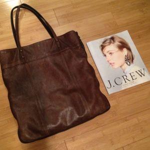 J crew brown leather bag
