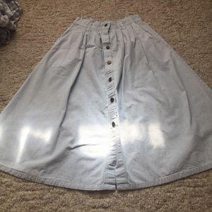Blue striped midi skirt