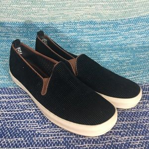 Kate Spade Black Brown Corduroy Slip On Shoes Flat