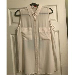M Equipment Ivory silk tunic length blouse
