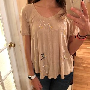 FREE PEOPLE detailed short sleeve Top size small