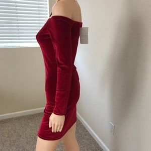 Dresses - Deep Red Velvet Off-shoulder Dress Size S