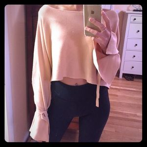 ZARA Cropped knit pale pink sweater size small