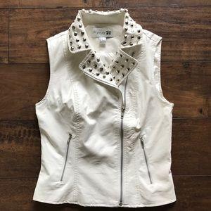 Forever 21 Polyurethane Studded Collar Zip Vest