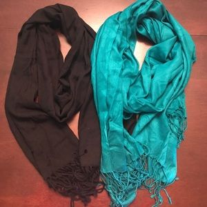 Accessories - Two Long Fringed Scarves