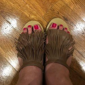 J. Crew Tan Fringe Sandals