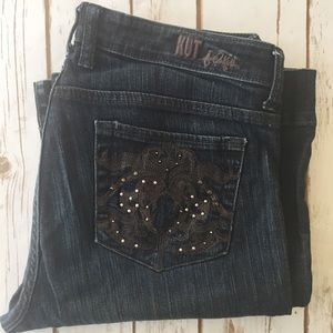 KUT from the Kloth dark wash embellished pocket