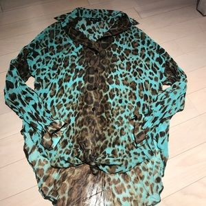 Cheetah Button Down Shirt Size M Bebe