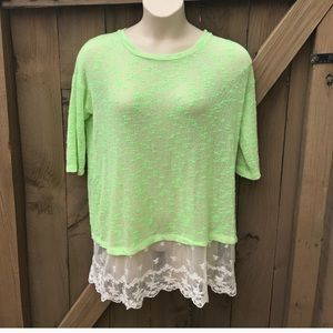 Christian Caliendo green sheer lace tunic size M