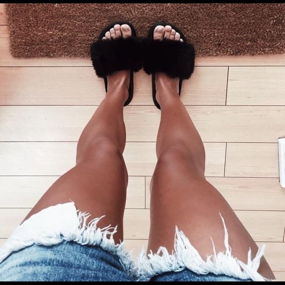 Zapatos Nike Nuevo Diapositivas Negro Fuzzy Diapositivas Nuevo Poshmark a35291
