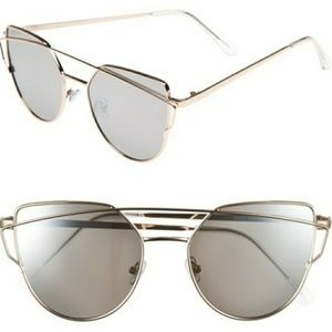 NWT Cat Eye Meets Aviators Grey Gold Sunglasses