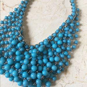 Banana Republic Blue Cluster Beaded Bib Necklace