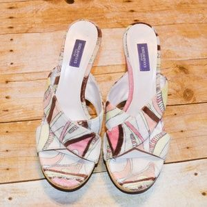 EUC Emilio Pucci Pattern Woven Wedge Sandals