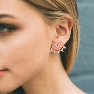 Jewelry - Gold and Diamond Sunburst Ear Jacket Earrings