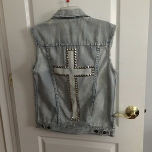 vintage denim urban outfitters vest  cross on back