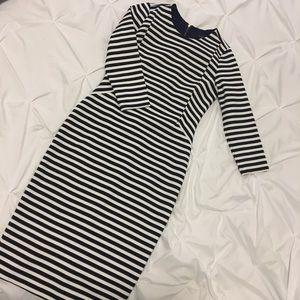 Navy stripe bodycon midi dress by The Limited
