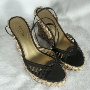 Guess Dark Brown Strappy Wedge Sandals Size 10
