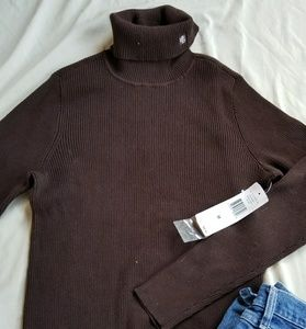 Ralph Lauren chocolate ribbed turtle neck medium