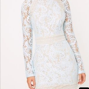 dcdcba399d Pretty Little Thing Dresses - Isobel Dusty Blue Lace High Neck Bodycon Dress