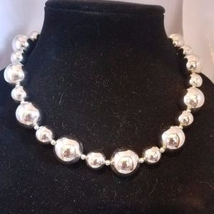 Jewelry - Statement heavy silver balled necklace & F. Pearl