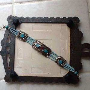 Jewelry - Vintage Tibetan Bohemian Turquoise Coral Bracelet