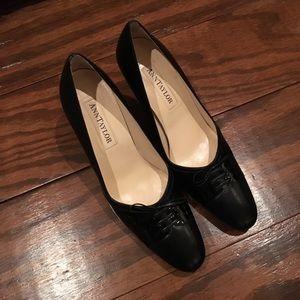 """EUC Ann Taylor """"Michelle"""" Black Leather Pumps"""