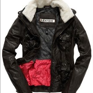 • Superdry Leather Megan Sherpa Jacket size M •