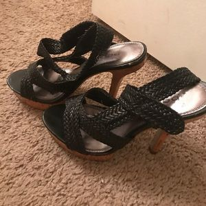 ee0994582320 bebe Shoes - Black and Wood Bebe platform Heels- Size 8