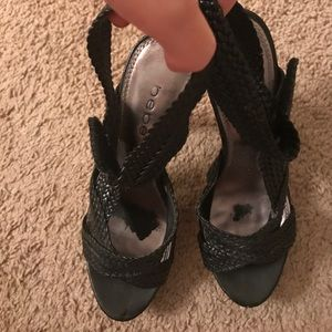 ee0994582320 bebe Shoes - Black and Wood Bebe platform Heels- Size 8