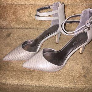 Calvin Klein grey pointed toe strappy heels