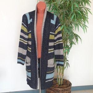 J JILL Cozy Striped Open Front Cardigan Sweater