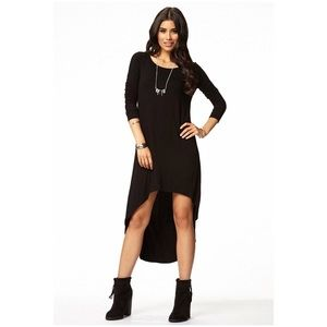 Black long sleeve high low dress