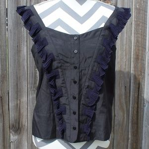 See By Chloe Black top with blue ruffles