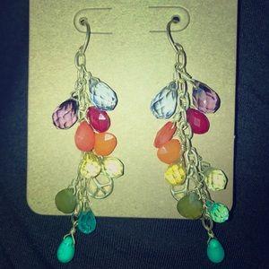 Lucky Brand rainbow crystal peace sign earrings