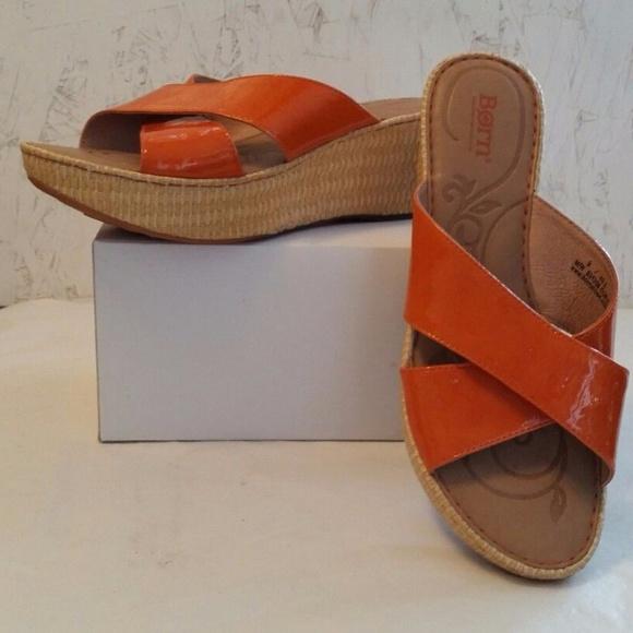 85571c881bfd Born Shoes - BORN Orange Patent Leather Platform Slides Wedges