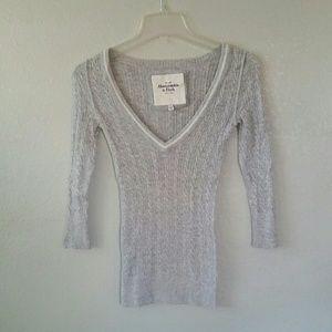 A&F heathered grey sweater.