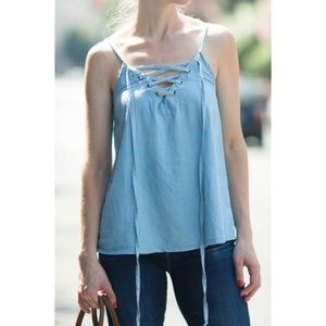 [Mimi Chica] NWT Chambray Denim Lace Up Tank Top