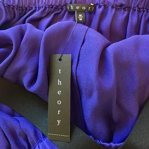 THEORY Floor Length Purple Silk Dress - Size Mediu