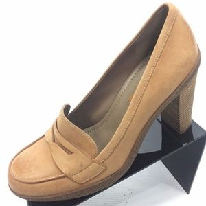 ECCO Beige Leather Penny Loafer Heels 8 NEW