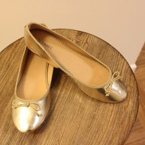 Gold Metallic Ballet Flats - Old Navy