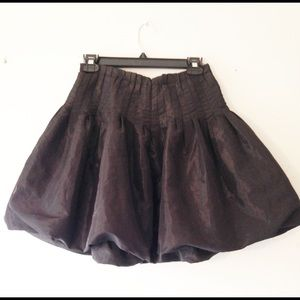 zara black satin bubble hem pleated skirt