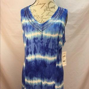 NWT Blue & White Tie Dye Maxi Dress