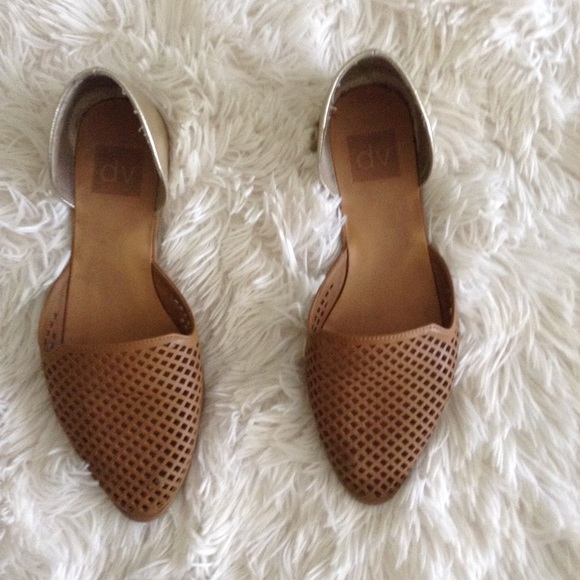 DV by Dolce Vita Shoes - DV brown+gold d'Orsay pointed flats