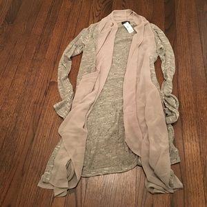 The Limited chiffon/knit cascade sweater size S