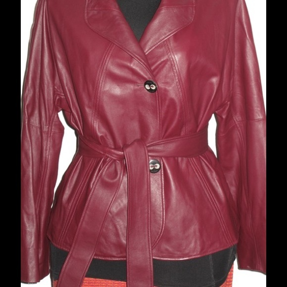 Escada Jackets & Coats - Escada Belted Leather Blazer