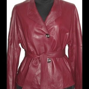 Escada Belted Leather Blazer