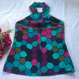 Trina Turk Multi Honeycomb Pattern Silk Halter Top