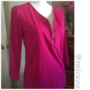 🆕Listing! 3/4 Sleeve Perfect Pink Zip up Top!